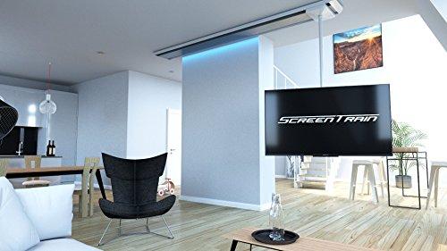 ScreenTrain 3m, TV Halterung, 2,6 Meter verschiebbar, 360° drehbar, neigbar, höhenverstellbar, bis 75 Zoll, inklusive fernbedienbarem Atmosphere-Light (indirekte Beleuchtung des Gehäuses)