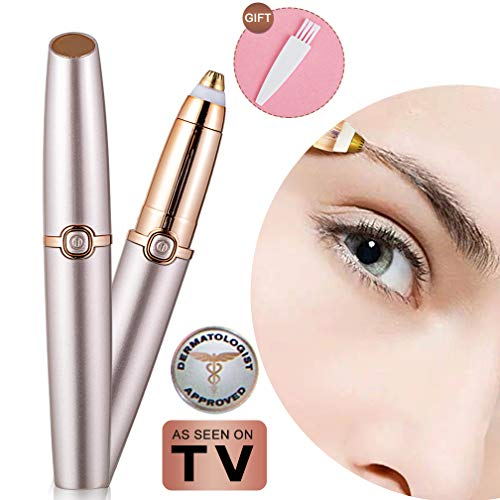 Eyebrow Hair Remover Electric Eyebrow Razor Trimmer Epilator for Women Portable Lightweight Eyebrow Pencil Razor Tool Battery Operated (Battery Not Included) Rose Gold Mom Gift