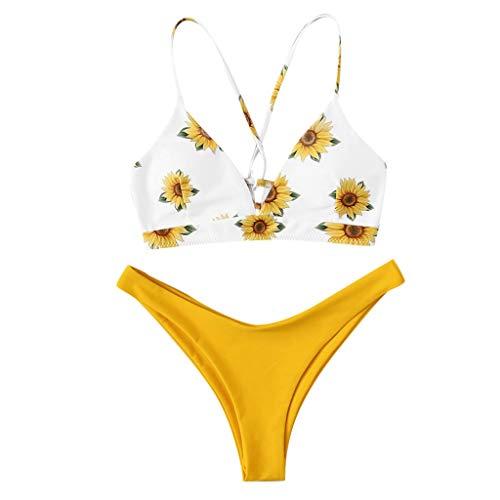 Bikinis Mujer,Dragon868 2020 Traje de Baño Mujer Dos Piezas Girasol Ropa de Playa Conjunto de Bikinis Impresión Sexy Push Up Triangle de Bikini BañAdor Beachwear