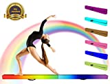 PreGymnastic Folding Gymnastic Balance Beam 8FT/9FT/9.5FT -Extra-Firm Suede Cover with Shinning Sticer and Carry Bag for Home/School/Club/Travel (Rainbow(4''High), 8')