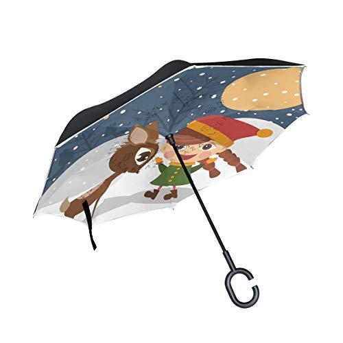 MALPLENA M?dchen Mit Ren Auto Regenschirm auf den Kopf Reverse Inverted Umbrellas für Frauen/Männer/Auto/Regen im Freien wasserdicht Winddicht