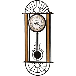 Howard Miller Devahn Wall Clock 625-241 – Wrought-Iron and Wood with Quartz Movement