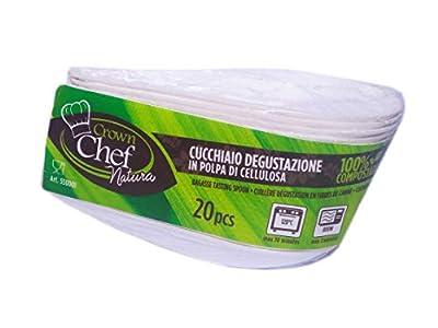 Crown - Juego de 20 cucharillas de 11 cm. Plato degustación monoporción biológica compostable cucharilla para comida