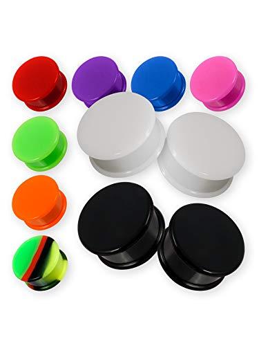Fly Style Ohr Plugs Hider aus Silikon | Flesh Tunnel in 12 Farben | 1 Paar Retainer 4-30 mm, Grösse:20 mm, Farbwahl:schwarz