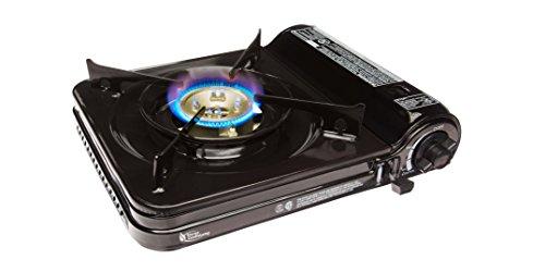 Sterno 50106 Portable Butane Stove with Piezo Electronic Ignition and Adjustable Flame, 9000 BTU, Black
