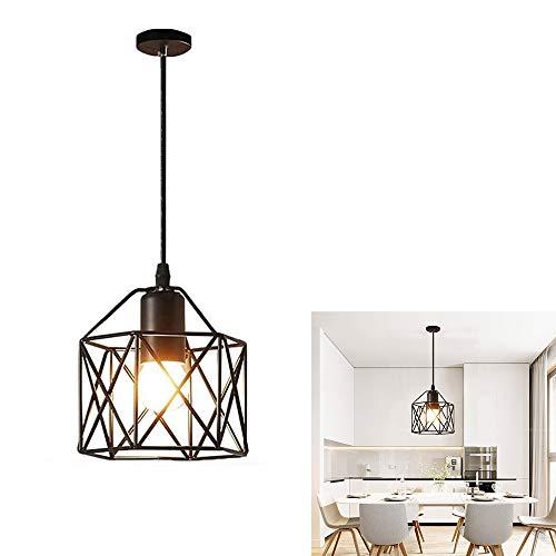 Vintage Plafonnier Industriel en Métal Cage Rétro Suspensions Luminaire Lustres Abat-Jour Géométrique Design E27 Lampe de Plafond pour Chambre Restaurent Salle à Manger Salon Bar, Noir