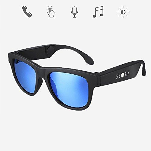 GWJ Bone Conduction Brille, Sport Kopfhörer Polarisierte Sonnenbrille Stereo Music Kabellose Bluetooth wasserdichte Headset Mit Mikrofon Hand-Free Classic Design