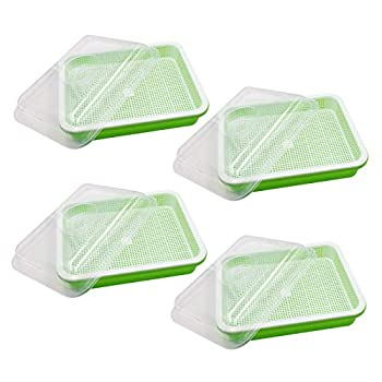 Seed Sprouter Tray with Lid 4 Pack BPA Free Seed Germination Tray Home Garden Office Microgreen Soilless Hydroponics Seed Sprouter Grow Tray with Cover