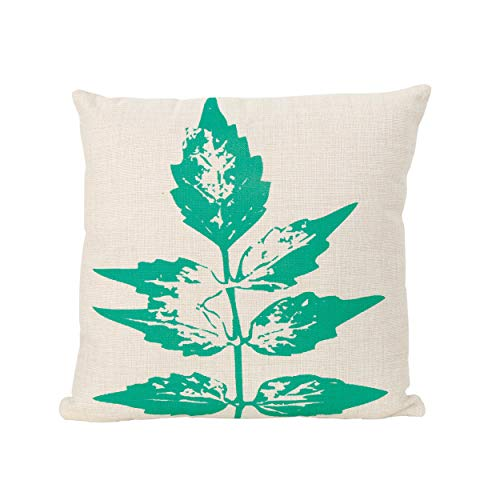 """Christopher Knight Home 305787 Owen Outdoor Water Resistant 18"""" Square Pillow, Green on Beige"""