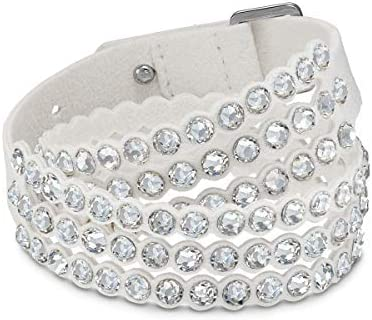 Women's Power Bracelet, Brilliant White Crystals with a Gorgeous White Alcantara Fabric Band, from the Swarovski Power Collection