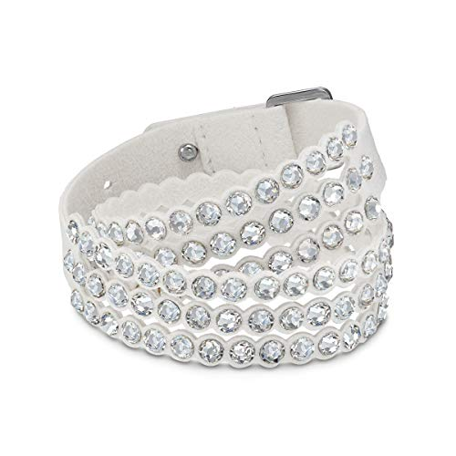 Swarovski Power Collection Women's Bracelet, Wrap Strand Bracelet with White Alcantara Fabric Band accented with White Crystals and Adjustable Closure