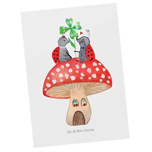 Mr. & Mrs. Panda kaart, wenskaart, Ansichtkaart Lieveheersbeestje paar paddenstoel - Kleur Wit