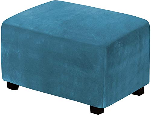 LINGKY Echtes Samt Plüsch Stretch Ottoman Slipcover High Stretch Samt Fußschemel Protector Cover Für Fußstütze Ottoman Möbel (Pfauenblau,Large)