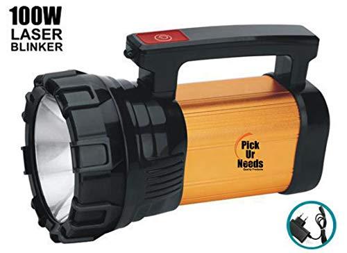 Pick Ur Needs™ Rocklight Metal 100w Rechargeable Waterproof Bright Led Torch Light Laser Long Range Distance High Power Search Light Kisan Rechargable Emergency Lights(Multi-Color) (Full Handel)