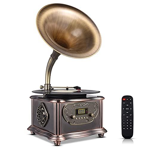 MEAGEAL Record Player Retro Turntable,Vintage Gramophone Bluetooth Speaker,Classic Aluminum...