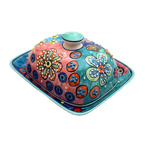 Gall&Zick Butterdose mit Deckel Keramik Bunt Handbemalt (Daisy Blau/Grün)