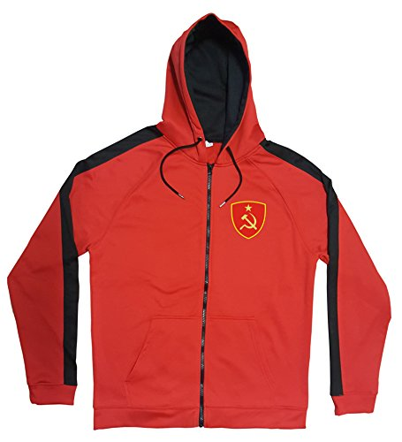Aprom-Sports CCCP Russland Jacke Sweater Rot JA GO CCCP Trikot Look Zip Nation Fussball Sport (2XL)
