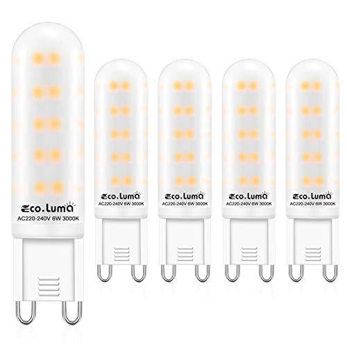 G9 LED Lampe Warmweiß 3000K, 6W ersatz für Halogenlampe G9 50W 60W, AC 230V G9 Mini Glühlampe, Kein Flackern 520LM, Nicht Dimmbar 5er Pack