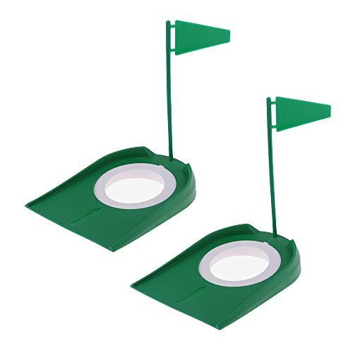 HOW TRUE 2 Set Practice Golf Putting Cup with Hole and Flag Plastic Golf Putting Hole Indoor Outdoor Practice Training Aids