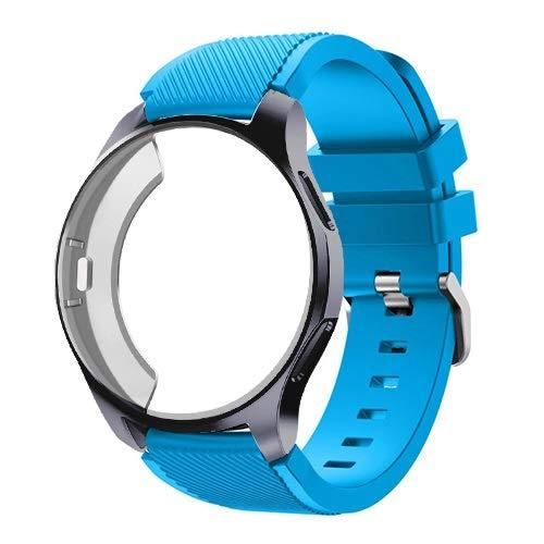 JJRRPA Funda de silicona+correa para Samsung Galaxy Watch de 46 mm/42 mm, correa Gear S3 Frontier+funda protectora (color de la correa: azul cielo 9, ancho de la correa: Gear S3)