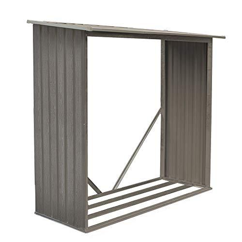 Bûcher métal aspect bois vieilli 625 - 1,37 m² - Chalet et Jardin
