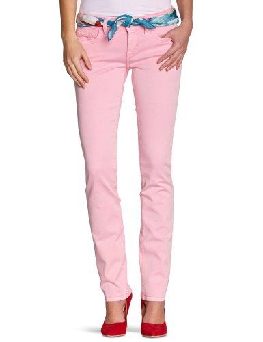 Freesoul – Pantaloni Slim – Tinta Unita – Cotone – Donna, Rosa (Strawberry), 30W x 32L