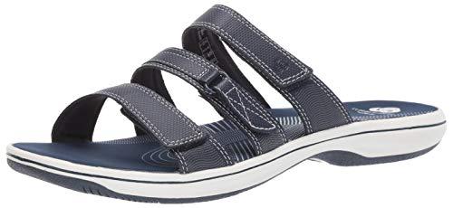 Clarks Women's Brinkley Coast Slide Sandal, navy synthetic, 8 M US