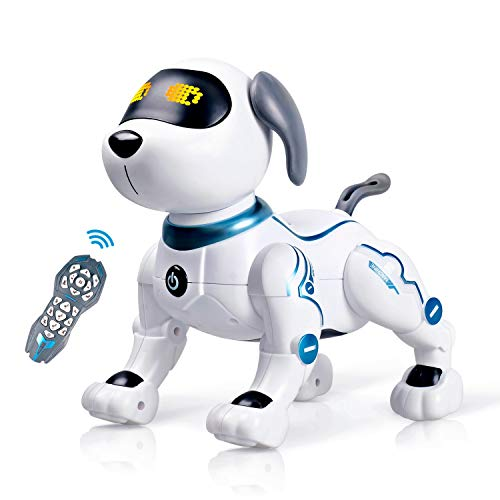RC Robot Dog Toy for Kid, Remote Control Robotic Dog Stunt Puppy Voice Control Toys Handstand Push-up Electronic Pets Dancing Programmable Robot with Sound for Boys and Girls