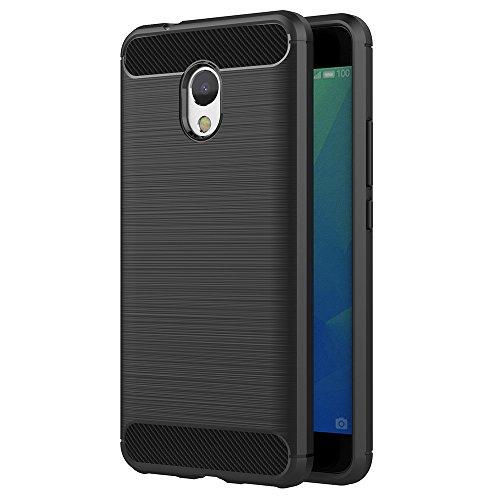 AICEK Meizu M5S Hülle, Schwarz Silikon Handyhülle für Meizu M5S Schutzhülle Karbon Optik Soft Case