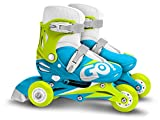 STAMP-Adjustable Two in One 3 Wheels Skate Blue SKIDS Control Size 27-30, Color...