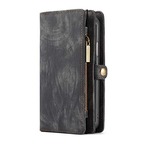 KelaSip Galaxy S9 Hülle, Galaxy S9 Leder Handyhülle, Geldbörse Case mit 11 Kartenfächer, Abnehmbarer Schutzhülle mit Weichem TPU, Brieftasche Tasche für Galaxy S9 5,8 Zoll, (Grau)