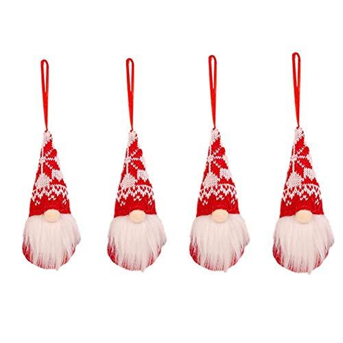 brightsen 4 adornos de Navidad para árbol de Navidad, diseño de gnomo de Papá Noel, decoración del hogar, hecho a mano, sombrero largo, figura de hombre del bosque