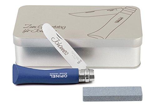 Opinel Kinder-Taschenmesser blau Geschenkdose inkl. Schleifstein und Wunschgravur auf Klinge + Dose