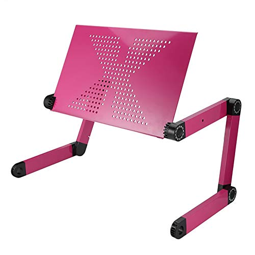 Laptop Stand Riser, Adjustable Height Laptop Stand Holder with Built-in Legs, Ergonomic Foldable Laptop Riser with Cell Phone Holder Compatible,Pink