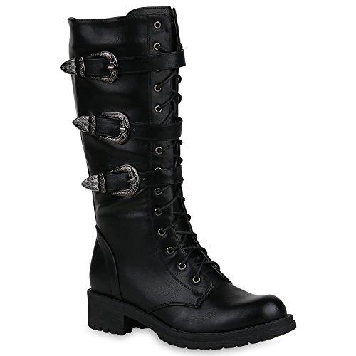Damen Schuhe Schnürstiefel Biker Boots Schnallen Metallic Stiefel 148339 Schwarz 36 Flandell
