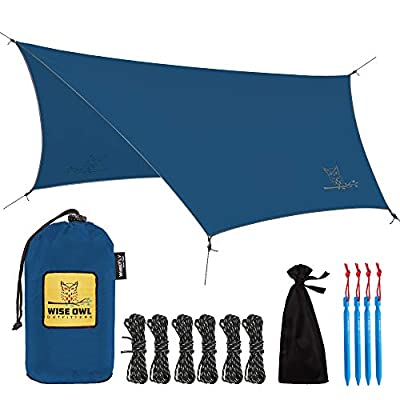 Wise Owl Outfitters Rain Fly Tarp – The WiseFly Premium 11 x 9 ft Waterproof Camping Shelter Canopy – Lightweight Easy Setup for Hammock or Tent Camp Gear – Blue