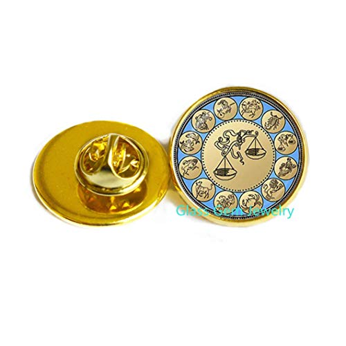 Charming Libra Pin Zodiac Libra Brooch Astrology Horoscope Jewelry September October Birthday Wholesale,Q0276