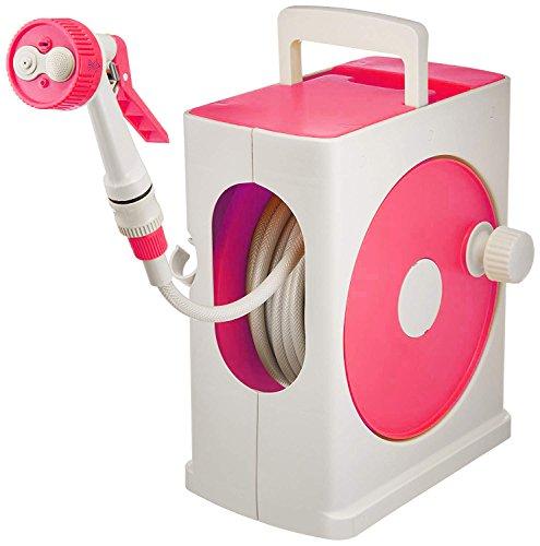 アイリスオーヤマ ホース リール フルカバーホースリールスリム 20M ピンク×グレー 水やり 洗車 掃除 コンパクト スリム