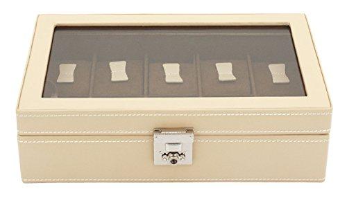 Friedrich23 Uhrenkoffer – Uhrenkasten Cordoba mit Glasdeckel aus Echtleder in beige – Platz für 10 Uhren – abschließbar