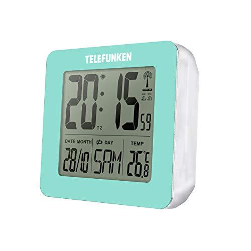 TELEFUNKEN Despertador digital LCD DCF con termómetro, indicador de temperatura y calendario automático, cambio de tiempo automático, color turquesa