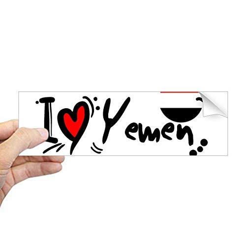 DIYthinker Ik hou van Jemen Woord Vlag Liefde Hart Illustratie Rechthoek Bumper Sticker Notebook Window Decal