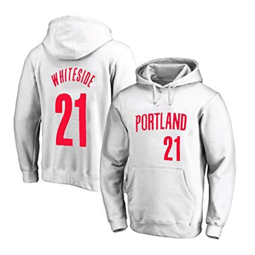 Sudadera con capucha de baloncesto para hombre Hassan Whiteside, Portland Trail Blazers # 21 suéter de bolsillo grande con capucha deportiva jersey de bola, chaqueta de invierno para hombre S-3XL