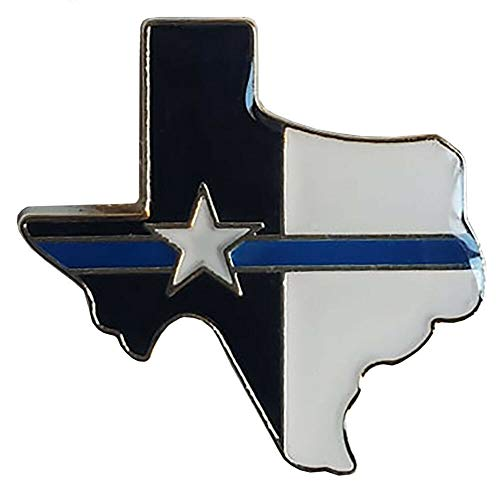 Miami Wholesale Pack of 3 Texas State Map Thin Blue Line Police Memorial Hat Cap Lapel Pin