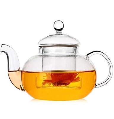 IwaiLoft Glass Teapot with Infuser, Stovetop Safe Tea Kettle, Blooming and Loose Leaf Tea Maker (20OZ, Maru)