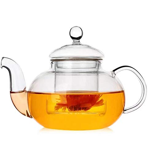 IwaiLoft Glass Teapot with Glass Infuser, Stovetop Safe Tea Kettle, Blooming and Loose Leaf Tea Maker 20oz