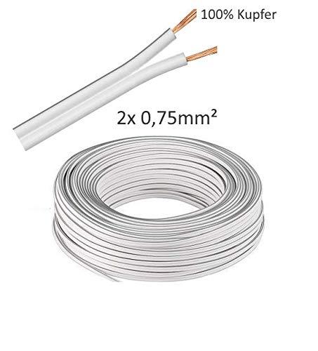 Preisvergleich Produktbild (0, 7 / m) 5m LED Kabel Zwillingslitze 2x 0, 75mm² Weiß 2-adrig,  LED Leitung,  100% Kupfer OFC.!