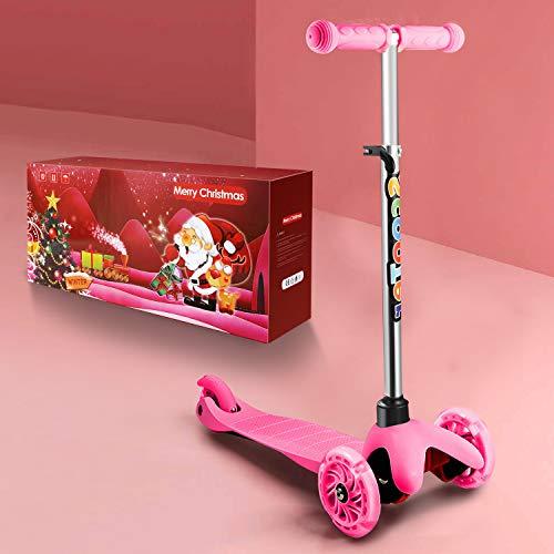 WeSkate Roller Kinder mit Verstellbare Höhe und leuchtende Räder Kinderscooter Dreiradscooter Kinderoller Scooter...