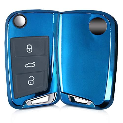 kwmobile Funda Compatible con VW Golf 7 MK7 Llave de Coche de 3 Botones - Carcasa Suave de TPU - Cover de Mando y Control de Auto en Azul Brillante