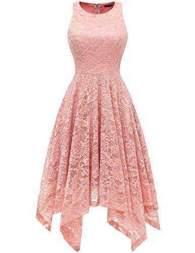bridesmay Damen Elegant Spitzenkleid Knielang unregelmäßig Zipfel Kleid Cocktailkleid Abendkleider Blush XL