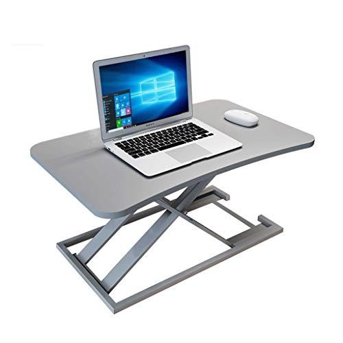ZEZHOU Tragbarer Laptop-Schreibtisch, hydraulischer Aufzug Faltbare bewegliche Reihe-Stand-Oben-Werkbank-Behälter-Bett-Tabelle, 3 Farben (Farbe : Gray)